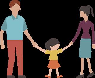 Illustrasonsbilde av familie som holder hender