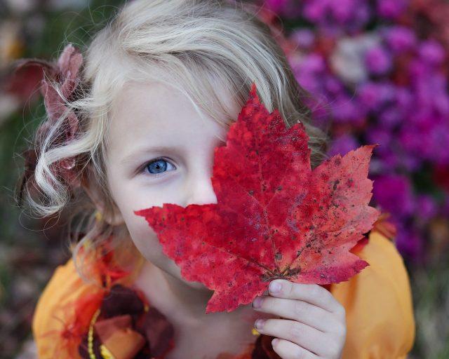 Jente holder et stort rødt løv over ansiktet